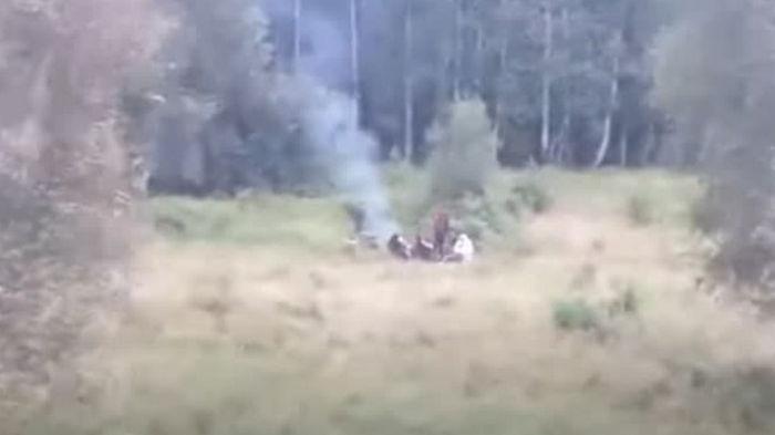 На польско-белорусской границе мигранты застряли посреди болота (видео)